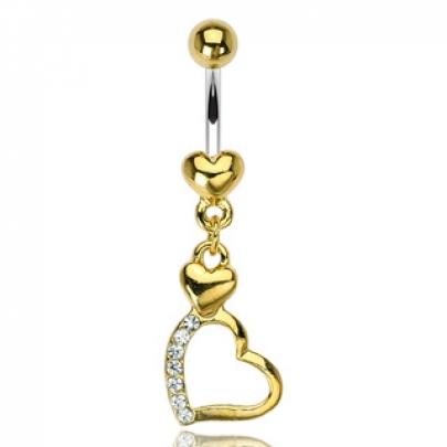 Navelpiercing med guld hjärta