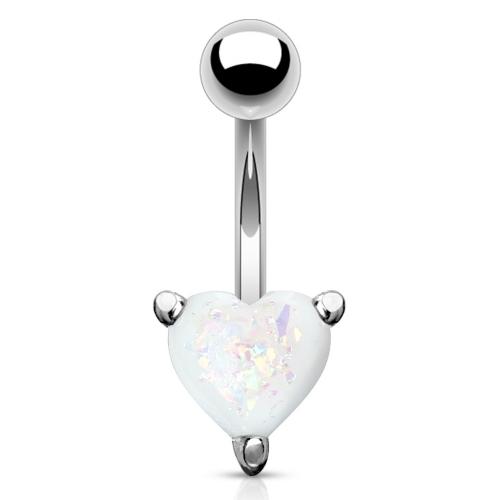 Navelpiercing med hjärtformad opalsten