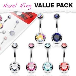 Navelpiercing 6-pack