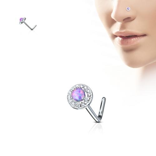 Rund näspiercing med opalsten