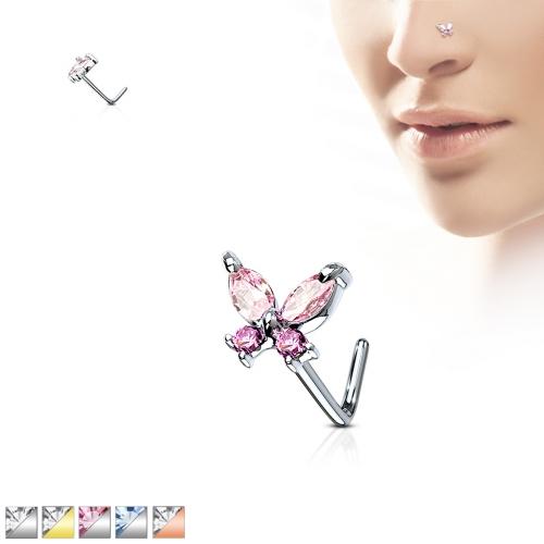 Näspiercing med Cz fjäril