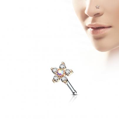 Rak näspiercing med glittrig blomma