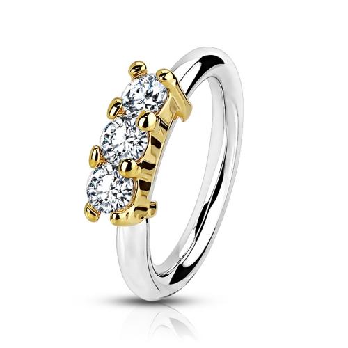 Näs/Daith ring med tre stenar