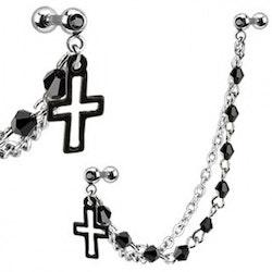 Kors med kedja och barbell
