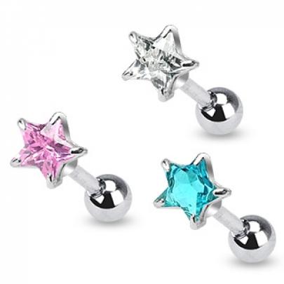 Tragus piercing med rosa CZ stjärna