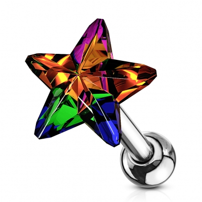 Traguspiercing med vacker stjärna