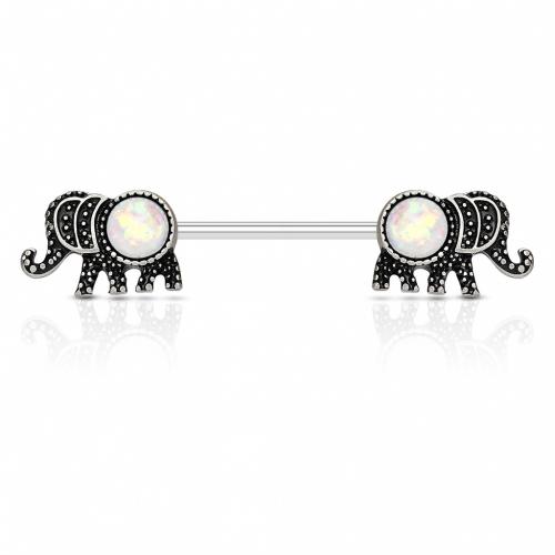 Bröstpiercing elefanter med opalstenar