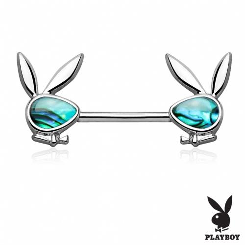 Playboy bröstbarbell med abalone sten