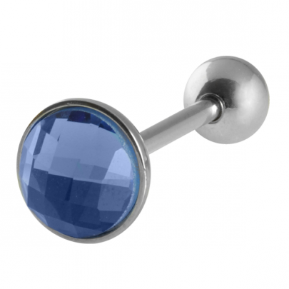 Tungpiercing med blå CZ