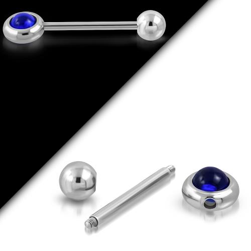 Tungpiercing med roterande mörkblå boll