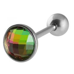 Tungpiercing med flerfärgad CZ