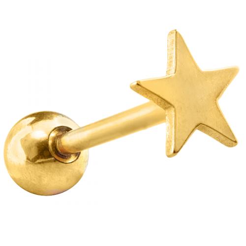 Guldfärgad tungpiercing med stjärna