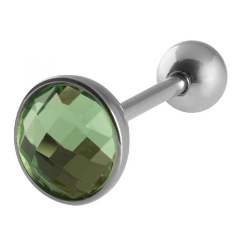 Tungpiercing med grön CZ