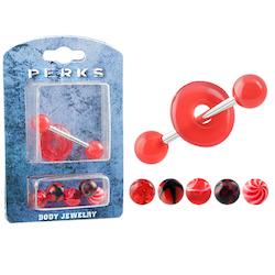 Röd presentförpackning till tunga