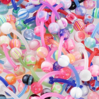 10st böjda barbeller med böjbar stav och bollar