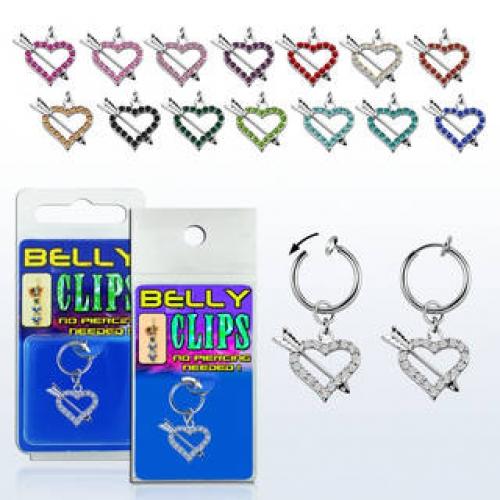 Fake piercing med hängande pilhjärta