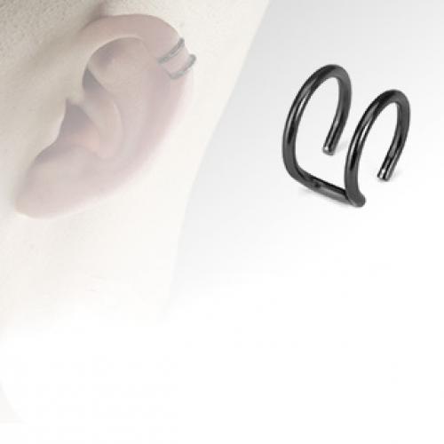 Svart fake helix piercing