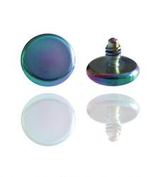 Dermal Anchor topp, regnbågsfärgad disc