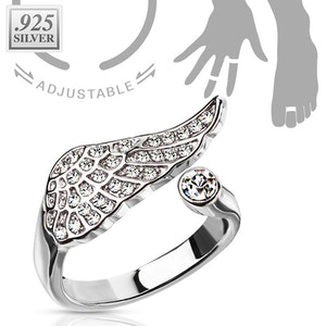 Justerbar ring med änglavinge