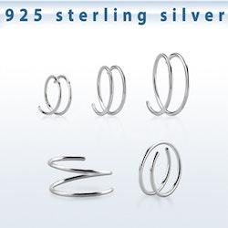 Dubbel näsring i silver
