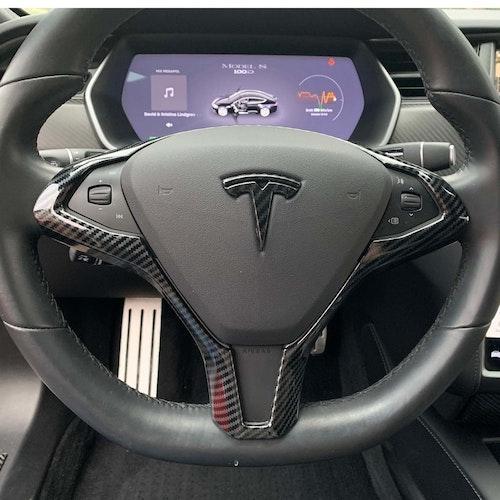 Panel till ratten carbon fiber glossy - Tesla Model S/X
