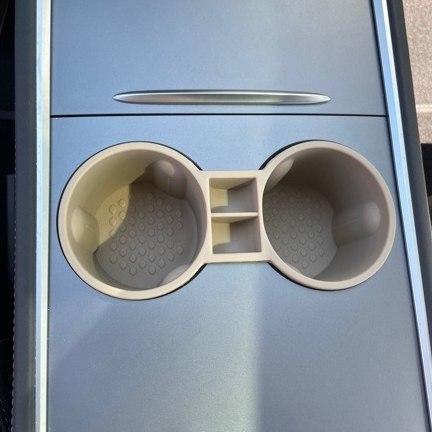 Mugghållare i silikon - beige - Tesla Model 3 / Model Y