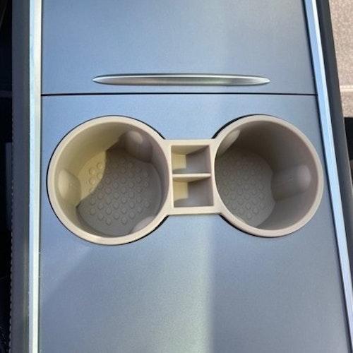 Mugghållare i silikon - beige - Tesla Model 3/Y