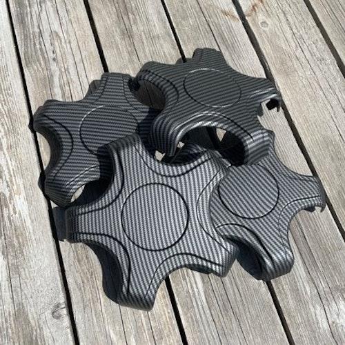 Centerkapslar - matt carbon fiber - Tesla Model 3