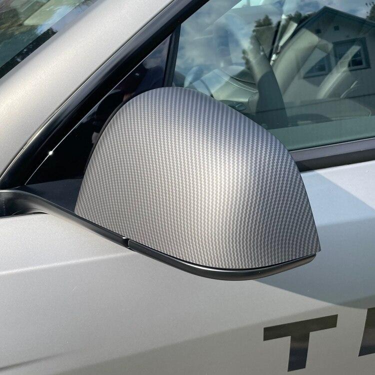 Kåpor till backspeglarna i matt carbon fiber till Tesla Model Y