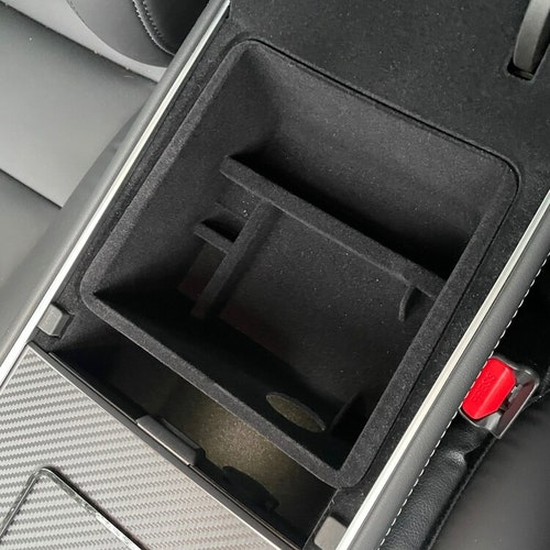Förvaringslåda armstödet, flockig insida - Tesla Model 3 2021/Y