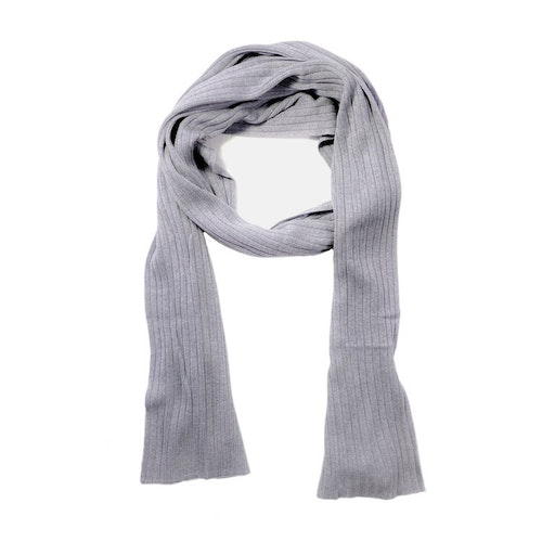 LARGE RIBBED SILK SCARF GREY