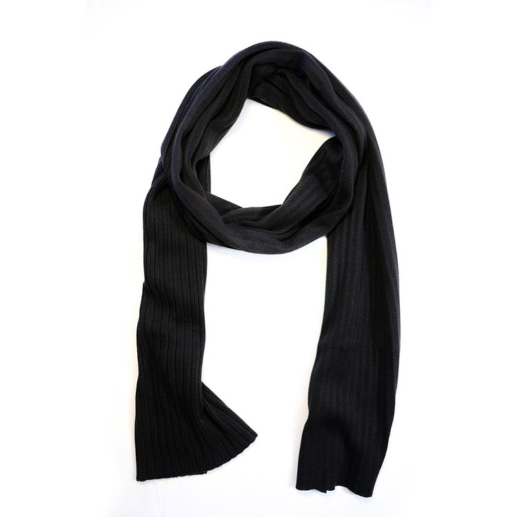 LARGE RIBBED SILK SCARF BLACK