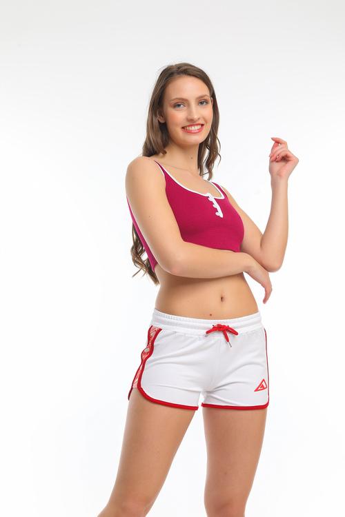 Sport Shorts -Vit-röd färg
