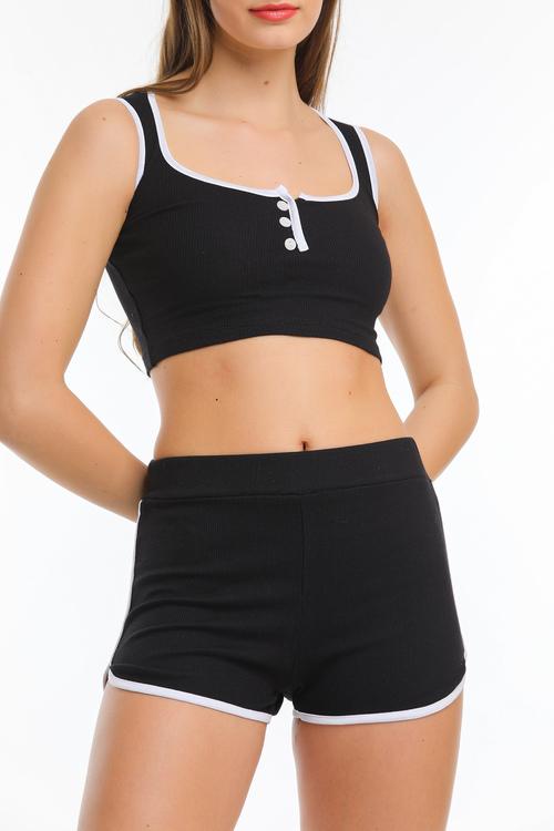 Crop top och shorts set Svart-vit