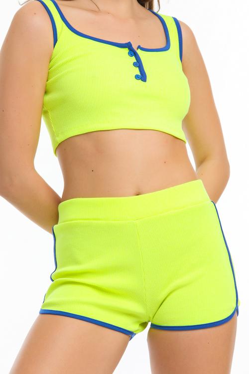 Crop top och shorts set -Gula färg