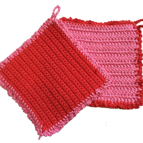 Rödrosa grytlappar