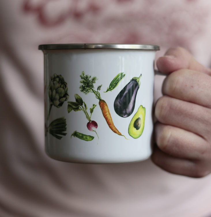 Emaljmugg grönsaker