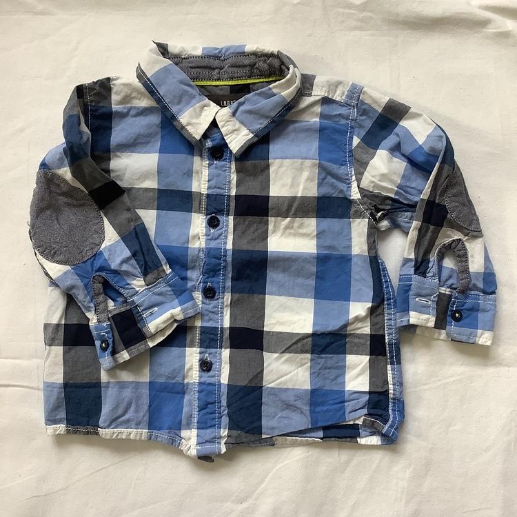 Blårutig skjorta stl 74