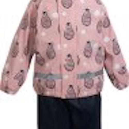 Fodrat regnställ rosa stl 86/92-122/128