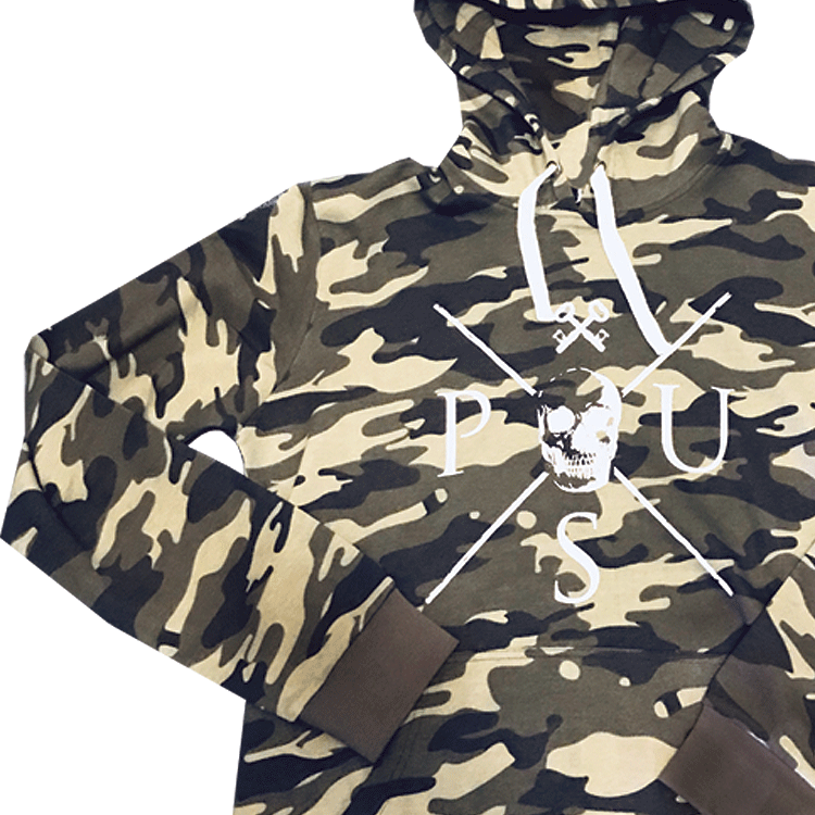 Jason hoodie camo med vitt tryck