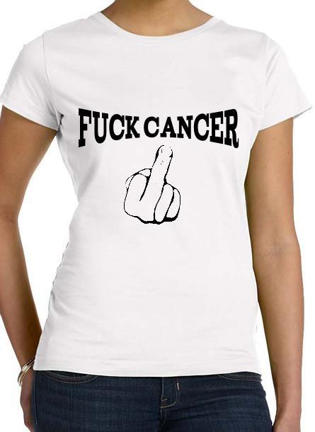 TShirt Rosa Bandet Fuck Cancer- Vit Tshirt Dam