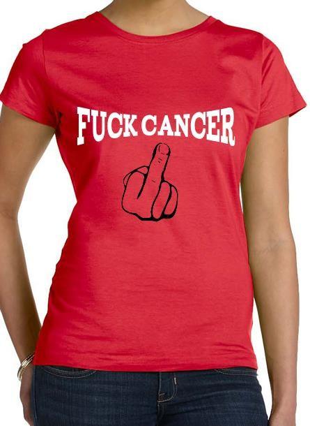 TShirt Rosa Bandet Fuck Cancer- Röd Tshirt Dam
