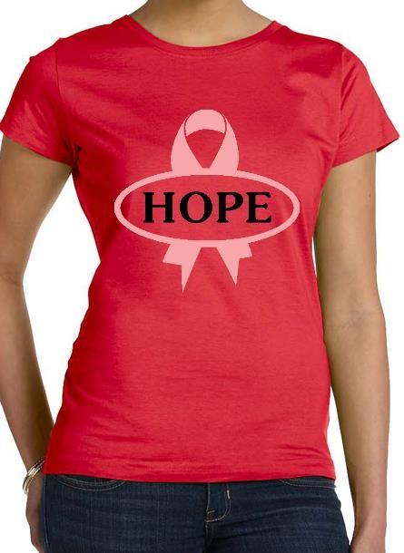 TShirt Rosa Bandet Hope- Röd Tshirt Dam