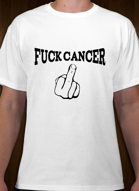 TShirt Rosa Bandet Fuck Cancer- Vit Tshirt Herr