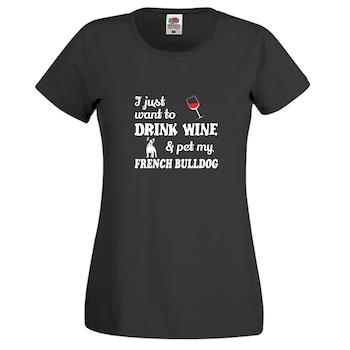 Fransk Bulldog Chilin with my friend T-Shirt Dam