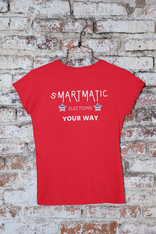 Smartmatic Tshirt, T-Shirt med tryck, Röd