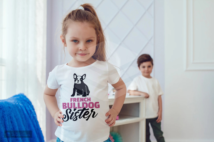 Fransk Bulldog  Sister T-Shirt Barn, French Bulldog T-Shirt Children
