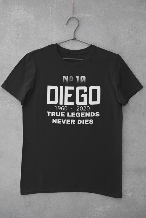 Diego Maradona Tshirt, T-Shirt med tryck. Maradona No 10. RIP Diego Maradona. Trubute T-Shirt för Maradona