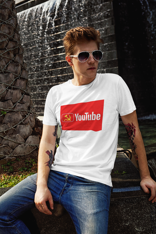 T-Shirt Herr med tryck. Anti Youtube Tshirt. Herr Tshirt