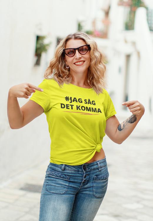 T-Shirt i alla årets färger. Kaxiga,roliga & colla T-Shirt. Denna tröja med klassikern Jag Såg Det Komma